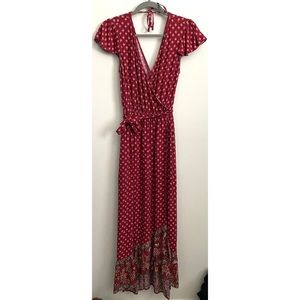 Xhilaration Boho V Neck Faux Wrap Dress Maxi